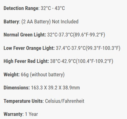 non contactless Infrared Thermometer